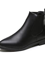 Черный-Женский-Повседневный Для праздника-Полиуретан-На плоской подошве-Удобная обувь-Ботинки