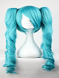 mestre de moda vocaloid mista verde miku 65 centímetros de comprimento ondulado trançada peruca de cabelo cosplay menina sintética