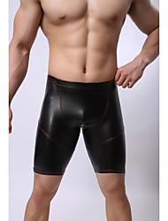 Homme Sexy Couleur Pleine Shorts & Slips Garçon Boxer Short-Polyuréthane
