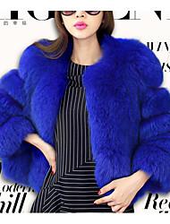 Women's Casual/Daily Simple Fur Coat,Solid Long Sleeve Winter Blue / Red / Gray / Purple Fox Fur