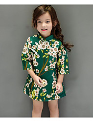 Girl's Holiday Floral Dress / Overall & JumpsuitCotton Spring / Fall Green