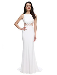 TS Couture Prom Formal Evening Dress - See Through Trumpet / Mermaid Jewel Sweep / Brush Train Jersey with Appliques