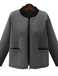 Women's Casual/Daily Simple Jackets,Solid Round Neck Long Sleeve All Seasons Black / Gray Polyester Medium