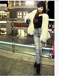 Feminino Casaco de Pelo Casual Moda de Rua Inverno,Sólido Branco / Preto / Cinza Pêlo Sintético Decote Redondo-Manga Longa Grossa