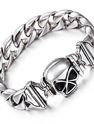 Муж. Браслеты-цепочки и звенья Нержавеющая сталь Панк Хип-хоп В форме черепа Серебряный Бижутерия 1шт