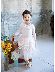 Girl's Casual/Daily Solid BlouseCotton Fall Pink / Beige / Gray