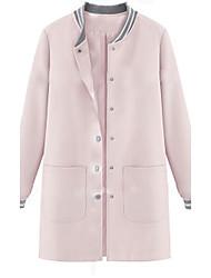 Damen Tierfell-Druck Einfach / Aktiv Ausgehen / Lässig/Alltäglich Jacke,Herbst Rundhalsausschnitt Langarm Rosa Mittel Baumwolle