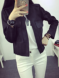 Women's Casual/Daily Simple Leather Jackets,Solid Long Sleeve Pink / Red / Black / Gray / Green PU