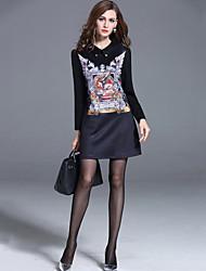 Women's Plus Size /Casual /Work Street Shift /Sheath Dress Patchwork /Print Shirt Collar Black Rayon /Nylon Fall /Winter