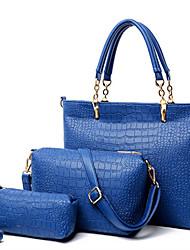 Feminino Couro Ecológico Casual Conjuntos de saco