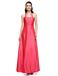 Sheath / Column Halter Floor Length Taffeta Formal Evening Dress with Side Draping