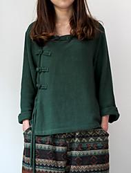 Feminino Camisa Casual Chinoiserie Primavera / Outono,Sólido Verde Algodão / Linho Decote V Manga ¾ Média