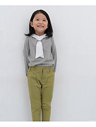 Pantalones Chica de-Casual/Diario-Un Color-Algodón-Otoño-Verde