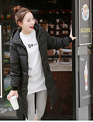 Women's Padded CoatSimple Casual/Daily Solid-Polyester Polypropylene Long Sleeve Black / Gray / Green