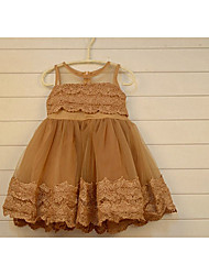 Girl's Casual/Daily Solid DressCotton Spring / Fall Brown