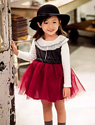 Girl's Casual/Daily Patchwork DressCotton Fall Red
