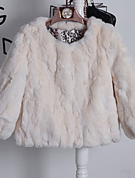 Women's Casual/Daily Vintage / Simple Fur Coat,Solid Round Neck Long Sleeve Fall / Winter Multi-color Rex Rabbit Fur Medium