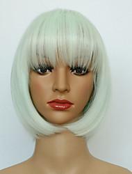 дешевые короткие прямые белого цвета парики Высокого качества жаропрочных парики