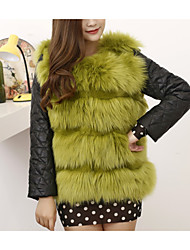 Women's Casual/Daily Simple Fur Coat,Solid Long Sleeve Winter White / Green / Orange Faux Fur