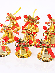 9pcs decorações ornamento natal árvore de natal decoração do brilho do ouro pendurado sinos bowknot Feliz Natal de DIY