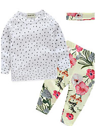Girl's Casual/Daily Floral Clothing SetCotton White