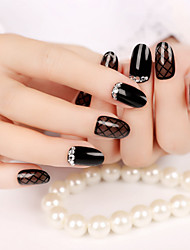 24Pcs Hepburn Style High Quality Nail Strips Fashion Atmosphere 1Set