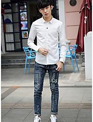 9169 Fall Men's casual long-sleeved shirt Slim shirt solid color shirt male literary small fresh shirt