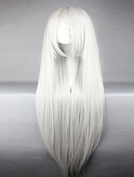American Style High Quality Synthetic Vocaloid Haku Silvery White Long Straight Cosplay Wig