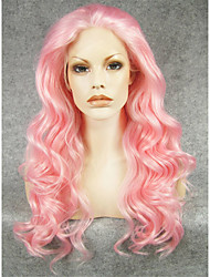 IMSTYLE 24''Drag Queen Heat Resistant Pink Long Wave Synthetic Wig Lace Front Can Be Curled