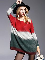 Women's Plus Size / Going out Simple Sweater DressPrint Round Neck Above Knee Long Sleeve Multi-color Nylon Fall