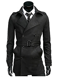 Men's Going out Simple Fall Winter Trench Coat,Solid Long Sleeve Regular