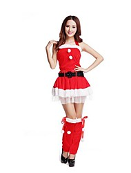 Christmas Costume /Holiday Halloween Costumes Red Solid Skirt / Belt / Garter Christmas Female Pleuche