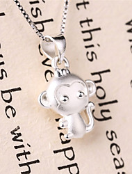 Couples's Jewelry S999 Silver Charm Monkey Shapped Pendant for Women and Men