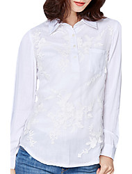 Spring Fall Go out Casual Women's Tops Organza Embroidered Square Neck Long Sleeve Blouse