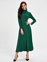 1287 Women's Party/Cocktail / Club Simple Sweater DressSolid Crew Neck Maxi Long Sleeve Green / Yellow Cotton