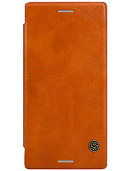 For Card Holder / Flip Case Full Body Case Solid Color Hard Genuine Leather for SonySony Xperia X Performance / Sony Xperia X / Sony