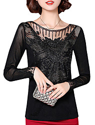 Spring Fall Women's Plus Size Go out Slim Was Thin Net yarn Hollowing Patchwork Round Neck Long Sleeve Blouse