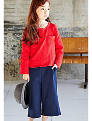 Casual/Daily Solid Blouse,Cotton Spring Fall Long Sleeve