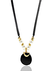 Necklace Rhinestone Pendant Necklaces / Pearl Necklace Jewelry Wedding / Party / Daily / Casual Imitation Pearl Pearl / Alloy Black 1pc