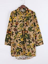 Mulheres Camisa Casual Moda de Rua Outono,Floral / Patchwork Verde Linho Colarinho de Camisa Manga Longa Média