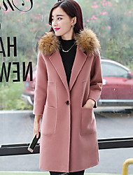 Women's Casual/Daily Simple Coat,Solid Long Sleeve Pink Wool