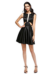 A-Line Jewel Neck Short / Mini Stretch Satin Cocktail Party Homecoming Prom Dress with Pleats by TS Couture®