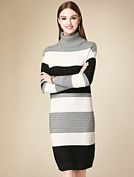 Women's Casual/Daily Simple Sweater Dress,Striped Turtleneck Above Knee Long Sleeve Black Cotton Winter High Rise Micro-elastic Medium
