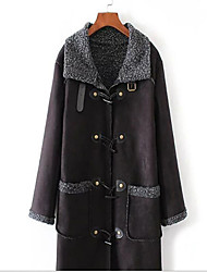 Women's Going out / Casual/Daily Vintage Coat,Solid Shirt Collar Long Sleeve Fall / Winter Black / Brown Linen / Polyester Thick