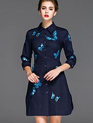 Trapèze Robe Femme Décontracté / Quotidien Chinoiserie,Broderie Col de Chemise Au dessus du genou Manches ¾ Bleu Coton / Autres Automne