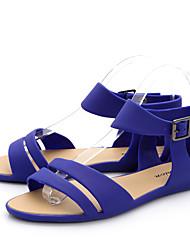 Feminino-Sandálias-Conforto-Rasteiro-Azul / Verde / Bege-PVC-Casual