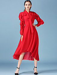 1287 Women's Going out / Casual/Daily Simple A Line DressSolid V Neck Midi Long Sleeve Red Polyester / Others All