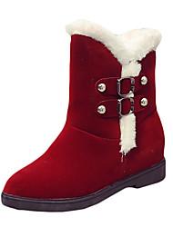 Women's Boots Winter Comfort PU Dress / Casual Low Heel Hook & Loop Black / Yellow / Burgundy Walking