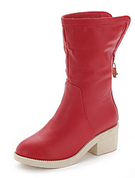 Women's Boots Combat Boots PU Casual Low Heel Chain Black / Red / White Walking / Others