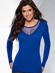 Tee-shirt Femme,Mosaïque Sortie / Décontracté / Quotidien Sexy / simple Printemps / Automne Manches Longues Col Arrondi Bleu / Noir